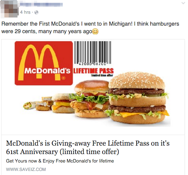 Lifetime Free Passes To Mcdonald And Kfc On The Facebook