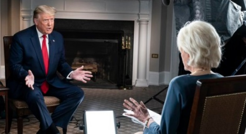 President Trump has posted photos of 60 Minute Interview with Lesley Stahl